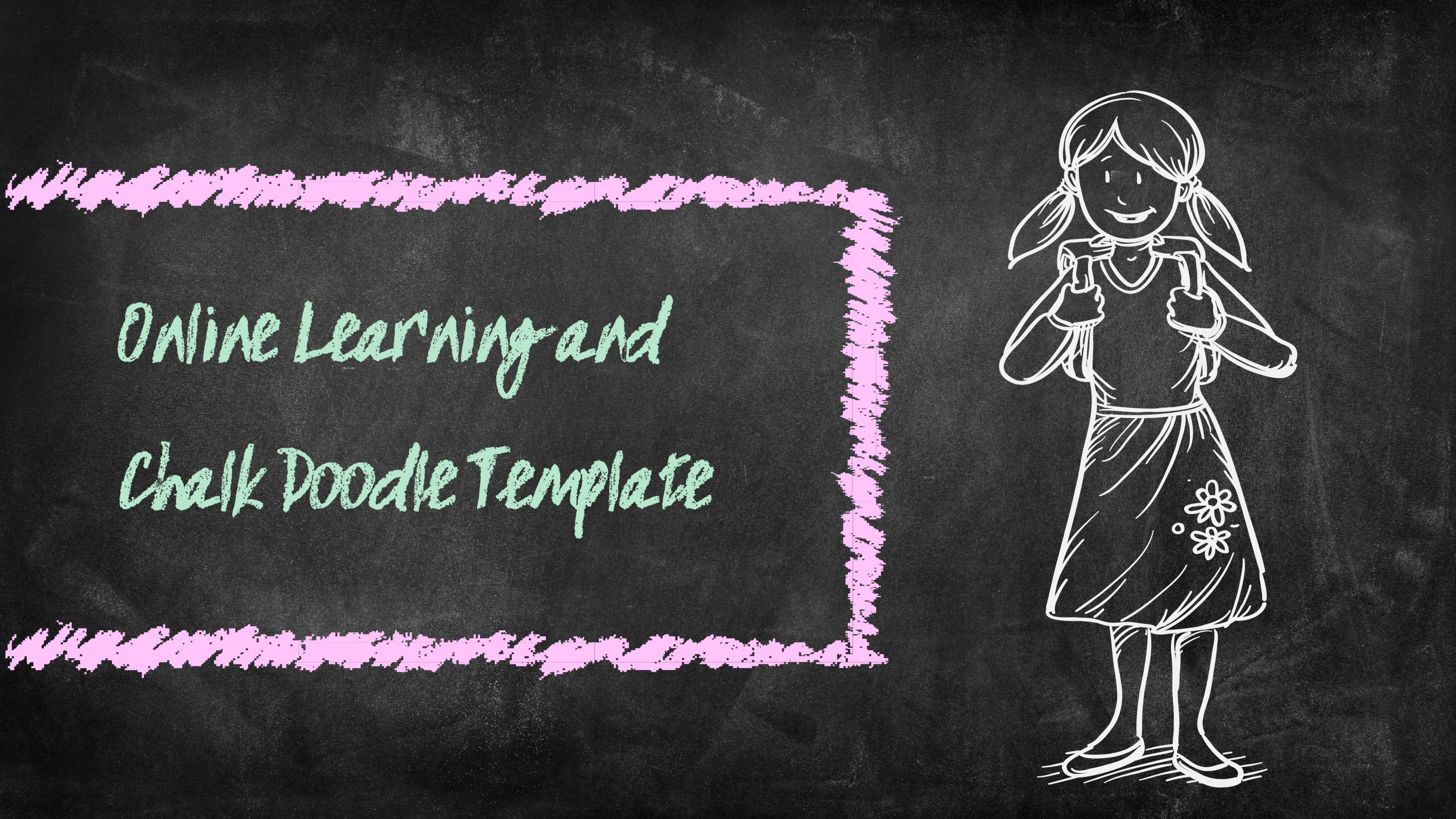 Free online learning and chalk doodle template