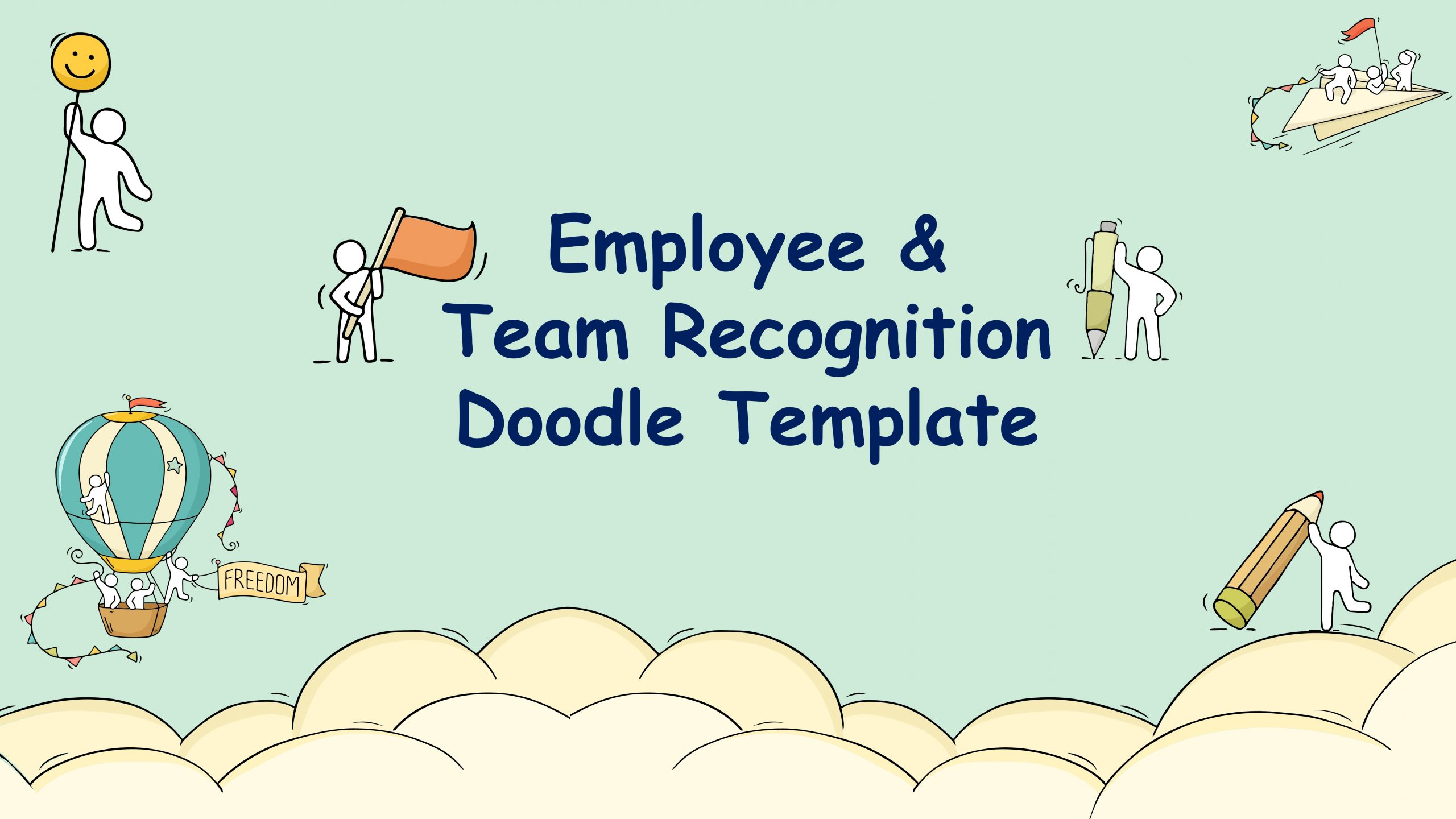 Free presentation template of Employee & Team Recognition Doodle