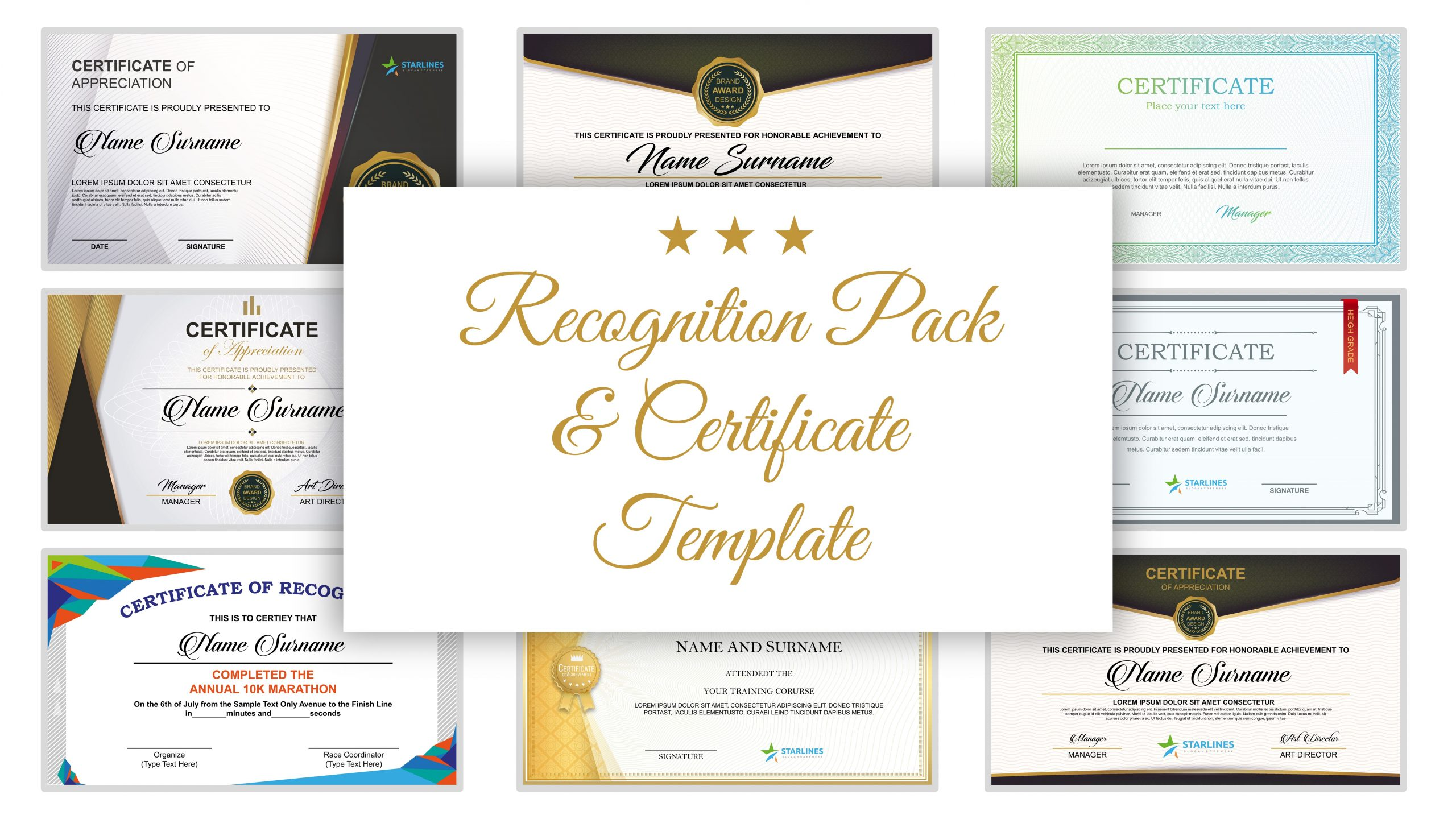 Free presentation template of Recognition Pack & Certificate