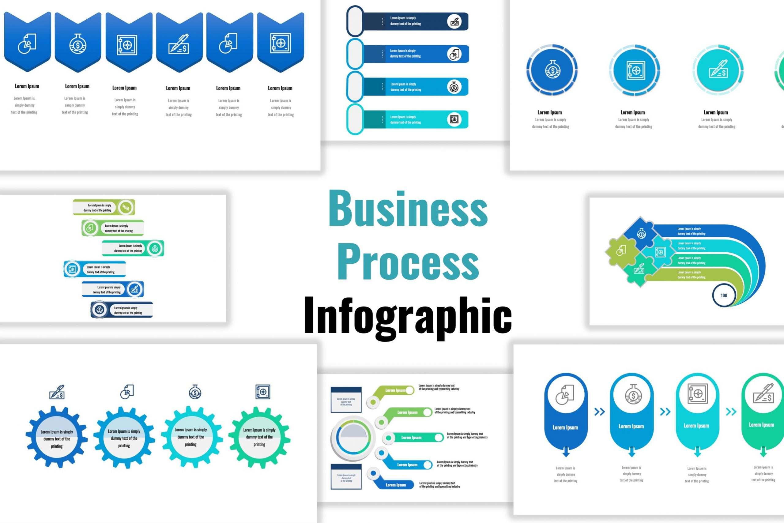 infographic template of Business Process